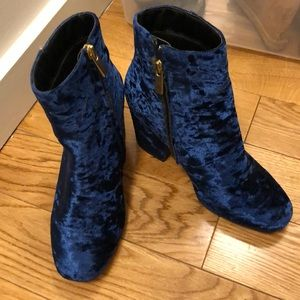 ASOS Shoes - ASOS blue velvet party booties. Like new!
